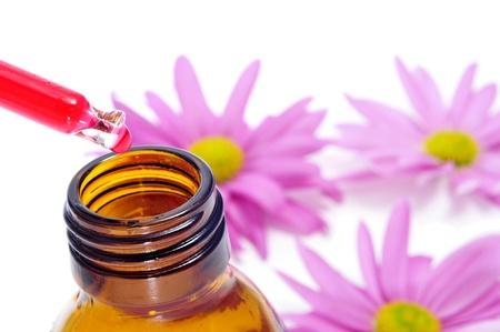 elixir: un gotero y una botella, y algunos crisantemos de color rosa sobre un fondo blanco Foto de archivo