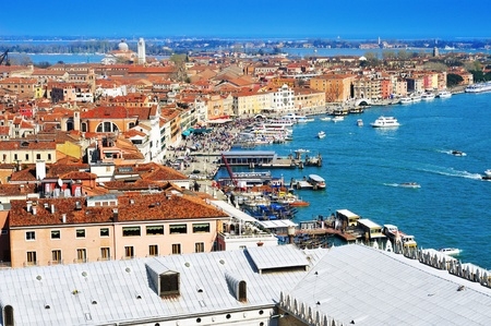 aerial view of Castelo Sestieri in Venice, Italy, and the lagoon, with the gondola moorings and vaporetto stops photo