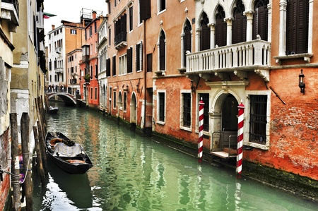 moorings: view of a charming place in a minor canal, or rio, in Venice, Italy
