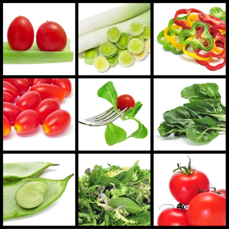a collage of nine pictures of different vegetables photo