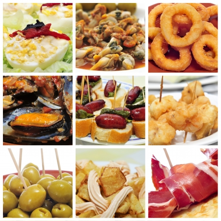 calamares: a collage of nine pictures of different spanish tapas, such as calamares a la romana  squid rings , mejillones a la marinera  mussels in marinara sauce  or spanish omelette or patatas bravas