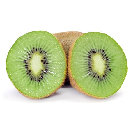 laxative: some kiwis, one of them cut in halves, on a white background