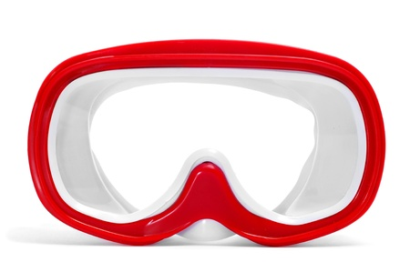scuba mask: closeup of a red and white diving mask on a white background