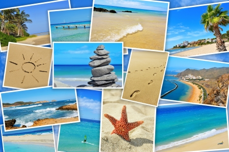 a collage of some pictures of different beaches of Spain, such as beaches of Canary Islands and Balearic Islands Imagens - 20165374