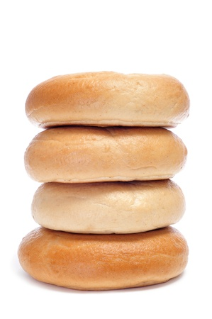 jewish cuisine: a pile of bagels on a white background
