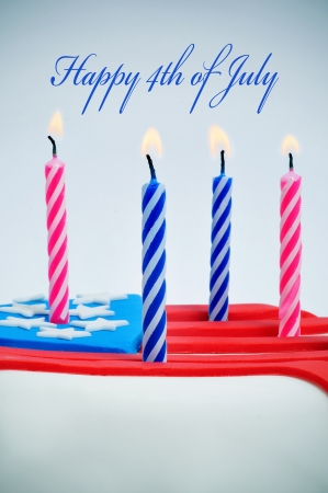 the sentence Happy 4th of july and a cupcake decorated with the colors and stars of United States flag, and candles Stock Photo - 20165437
