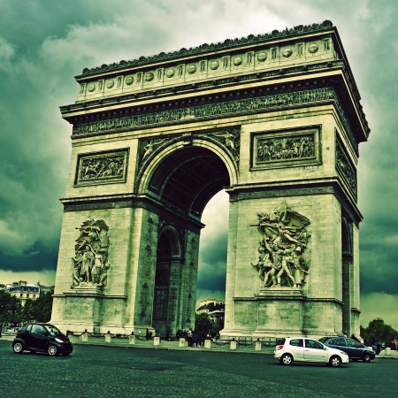 picture of the Arc de Triomphe, in Paris, France, with a retro effect Stock Photo - 20159424