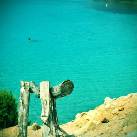 picture of Cala Saona Beach in Formentera, Balearic Islands, Spain, with a retro effect photo