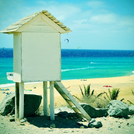 picture of a lifeguard tower in Sotavento Beach in Fuerteventura, Canary Islands, Spain, with a retro effect photo