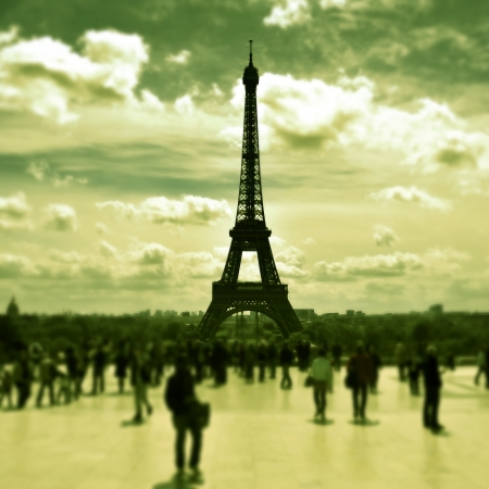 the Eiffel Tower seen from the Jardins du Trocadero in Paris, France, with a retro effect photo