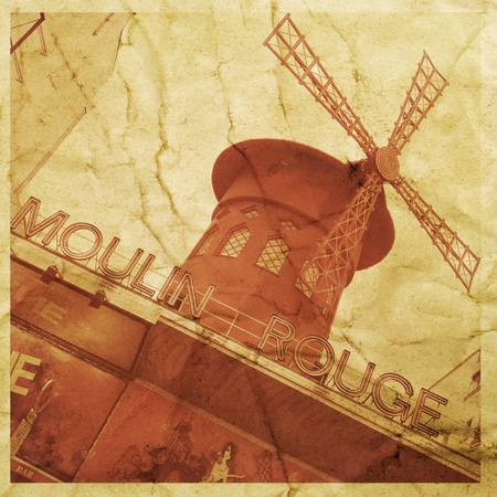 rouge: picture of the legendary Moulin Rouge in Paris, France, with a textured effect as it was a vintage postcard