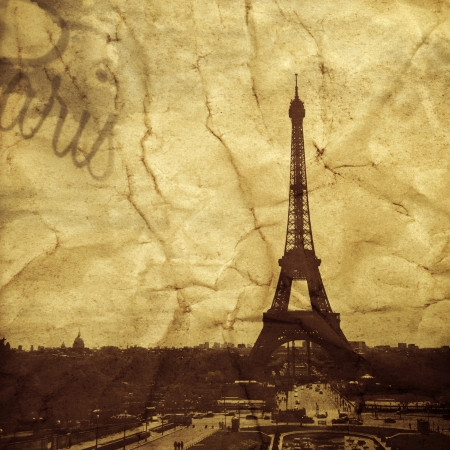 picture of the Eiffel Tower in Paris, France, with a textured effect as it was a vintage postcard photo