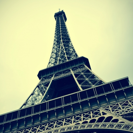champ: picture of the Eiffel Tower in Paris, France, with a retro effect