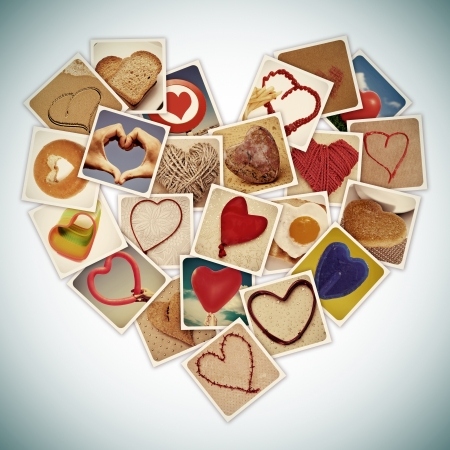 a collage of different snapshots of hearts and heart-shaped things, forming a heart, with a retro effect photo