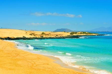 Las Alzadas Beach in Natural Park of Dunes of Corralejo in Fuerteventura, Canary Islands, Spain Stock Photo - 20850626
