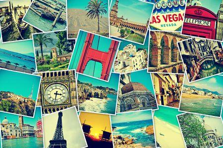tarjeta postal: mosaico con fotos de diferentes lugares y monumentos, tirado por mí mismo, simulando una pared de fotos subidas a los servicios de redes sociales