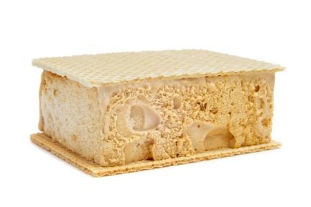 ice blocks: typical spanish helado al corte or corte de helado, ice cream sandwich with wafers, on a white background