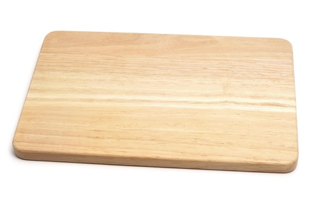 a wooden chopping board on a white background photo