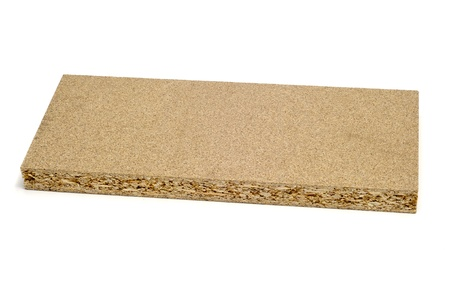 chipboard: a piece of particle board on a white background