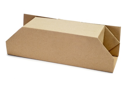 a cardboard box of on a white background photo