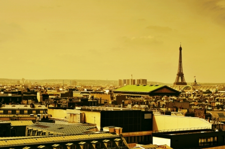 skyline of Paris, France, with the Eiffel Tower in the background photo