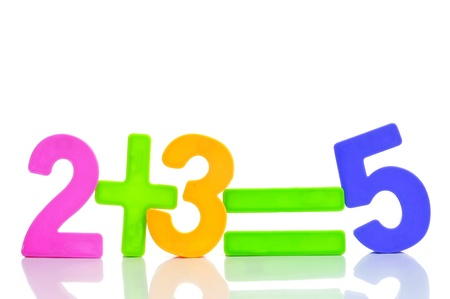 addition: the equation two plus three are five with numbers of different colors on a white background