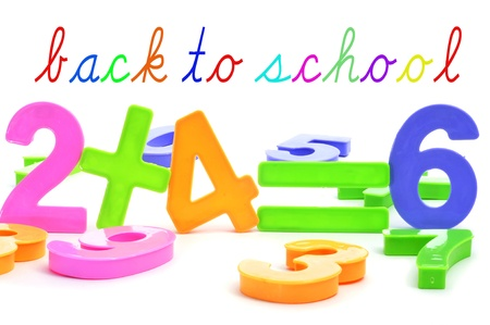 sentence back to school and the equation two plus four are six with numbers of different colors Stock Photo - 21374418