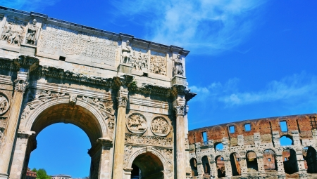constantine: a view of the Arch of Constantine and the Coliseum in Rome, Italy Stock Photo
