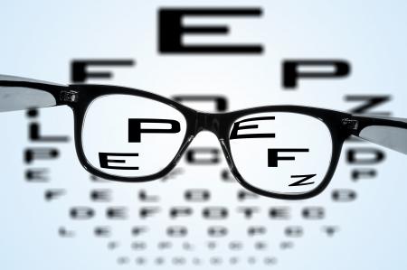 oculista: anteojos sobre un gr?fico de vista borroso