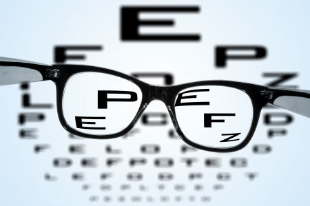 eyestrain: eyeglasses over a blurry eye chart