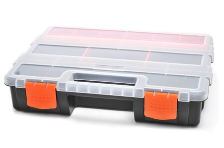 compartments: plastic organiser with storage compartments on a white background Stock Photo