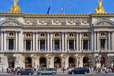 academie: Paris, France- May 18, 2013  Main facade of the Opera Garnier or Palais Garnier in Paris, France  This famous opera house, inaugurated in 1875, has 1,979 seats Editorial