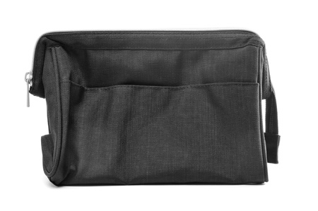 toiletry: a gray fabric toilet bag on a white background