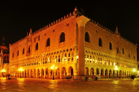 cattedrale: view of the Palazzo Ducale, Doges Palace, in Venice, Italy, at night Editorial