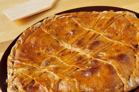 closeup of an empanada gallega, a savory stuffed cake typical of Galicia, Spain