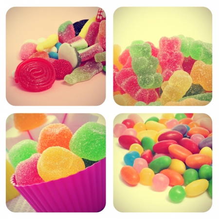 a collage of four pictures of different candies, such as jelly beans, gumdrops or gummy bears, with a retro effect photo
