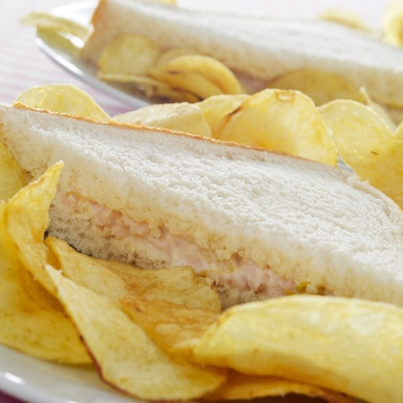 sandwich de pollo: primer plano de algunos platos con bocadillos apetitosos y chips Foto de archivo