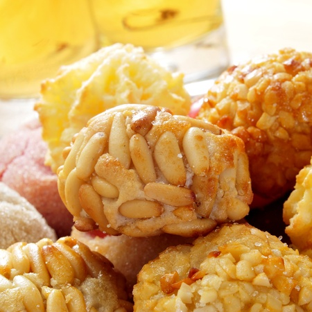tots: a pile of panellets, typical pastries of Catalonia, Spain, eaten in All Saints Day