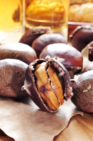 some roasted chestnuts, typical snack in All Saints Day in Catalonia, Spain photo