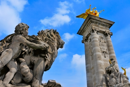 richly: detail of the richly ornamented bridge Pont Alexandre III in Paris, France
