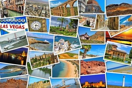 beaches of spain: mosaic with pictures of different places and landscapes, shot by myself, simulating a wall of snapshots uploaded to social networking services Editorial