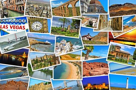 tarjeta postal: mosaico con fotos de diferentes lugares y paisajes, baleado por mí mismo, simulando una pared de fotos subidas a los servicios de redes sociales Editorial