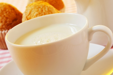 madalena: closeup of a cup with milk and a milk pot and some plain muffins on a set table Stock Photo