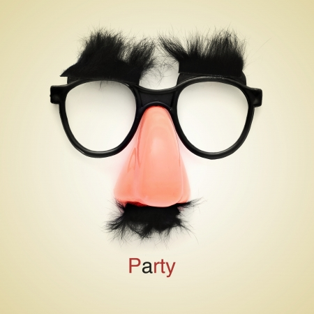 picture of fake glasses, nose and mustache and the word party on a beige background, with a retro effect photo