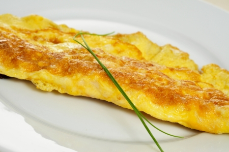 omelet: closeup of a french omelette, typical rolled plain omelette
