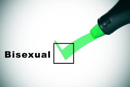 marker pen: a check mark drawn with a green marker pen on a checkbox with the word bisexual