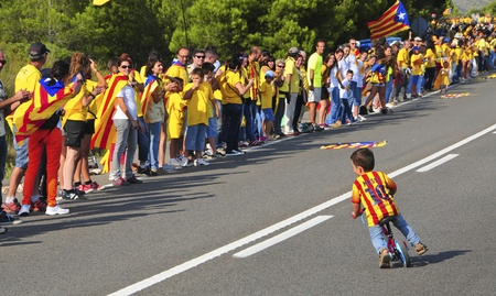 Ametlla de Mar, Spain - September 11, 2013 Partakers in the Catalan Way in Ametlla de Mar, Spain  1,6 million people took part in the human chain supporting the independence of Catalonia