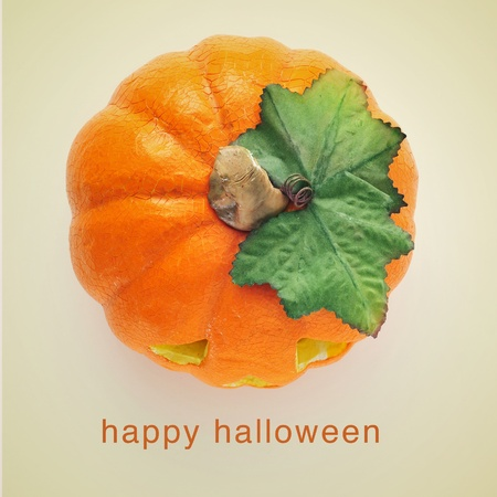 picture of a jack-o-lantern and the sentence happy halloween on a beige background, with a retro effect photo