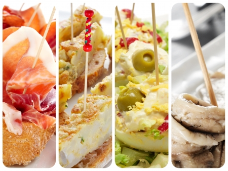 typical: a collage with different spanish tapas, such as pincho de tortilla, pincho de jamon, stuffed eggs or boquerones