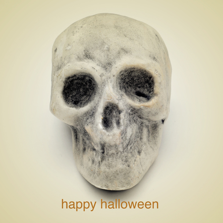 picture of a skull and the sentence happy halloween on a beige background, with a retro effect photo